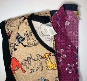 Disney The Lion King Simba Scar Timon Pumba Wonder Wink patterned scrub top XS