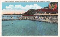 EAST WINDSOR ONTARIO CANADA~MUNICIPAL BATHING BEACH DETROIT RIVER POSTCARD 1920s