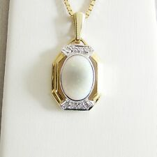 Anhänger Gold 585er weißer Opal Diamanten 14 kt Goldschmuck Damen Edelsteine