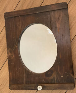Antique Country Farmhouse medicine cabinet wood cupboard Mirror Pharmacy Oval