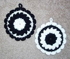 PAIR OF PUFF-STITCH ROUND POTHOLDERS, Crochet, BLACK AND WHITE, New, HANDCRAFTED