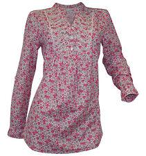 Geblümte Lockre Sitzende Damenblusen,-Tops & -Shirts mit V-Ausschnitt und Baumwolle