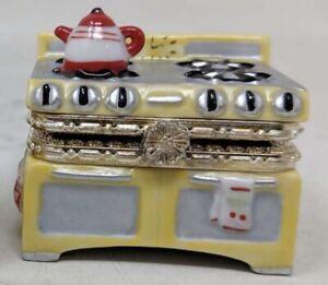 Porcelain Mini Trinket Box VINTAGE STOVE with MINI COOKIE & MINI KETTLE