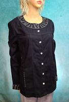 QUACKER FACTORY Womens Large Blinged Out Embellished Black Denim Jacket NWOT