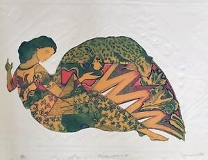 """Jonna White,""""Midas Touch III"""",1970-1989, Art,Etching,Watercolor Limited Edition"""