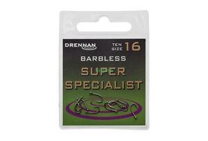 Drennan SUPER SPECIALIST Barbless Eyed Hooks x 20 (2 packs)