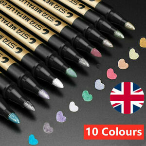 STA Metallic Permanent Marker Pen Paint Silver Photo Glitter Art DIY 10Pcs Gift