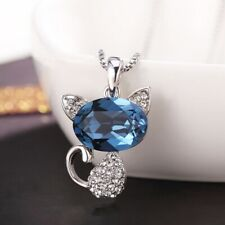 Thick 18K White Gold Filled Made With SWAROVSKI Crystal Sapphire Cat Necklace