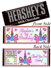 12 Unicorn Birthday Party Baby Hershey Candy Bar Wrappers Baby Shower Rainbow