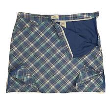 Dockers Womens Golf Skort Skirt Shorts Purple Blue Plaid Pockets Stretch Size 10
