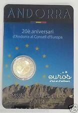 Pièce 2 euros commemorative ANDORRE 2014 - 20ème anniv au Conseil de l'Europe