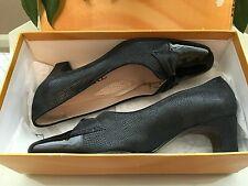 Ladies Van Dal Brooke Jean navy patent leather suede court shoes UK 4 E EU 37