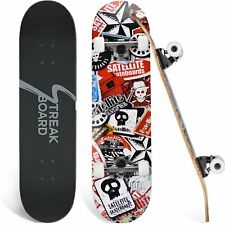 31*8in Skulls Complete Skateboard Double Kick Deck Concave Easy Ready to Ride Us