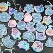 12 Key Chain Charms Mold Silicone Epoxy Resin Shaker DIY