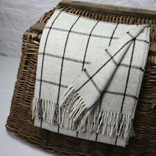 Natural Undyed Windowpane  100% Wool British Made Tweed Fabric Blanket Throw
