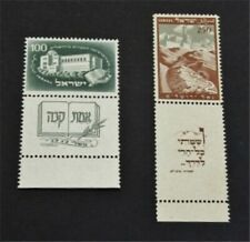 nystamps Israel Stamp # 23.24 Mint OG NH $50 With Tab
