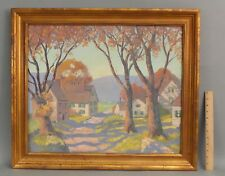 Antique K M Coggeshall  Country Landscape Oil Painting, St Louis Missouri Artist