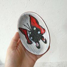 Vintage Italian Pottery Oval Trinket Dish Butterfly Leather Back Mid Century MCM