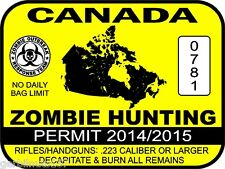 "CANADA Zombie Hunting Permit License Decal 3""x4"" vinyl vehicle sticker graphics"