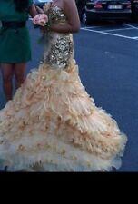 Verlobungskleid Brautkleid Hochzeitskleid Melisam Gelinlik Gr.36-40 Gold Bestick