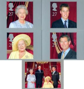4 AUGUST 2000 QUEEN MOTHER 100th BIRTHDAY SET OF MINT PHQ CARDS PSM 04