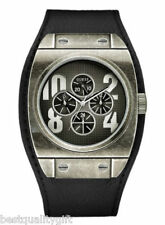 NEW GUESS BLACK LEATHER CUFF+BRUSHED VINTAGE SILVER S/STEEL MENS WATCH-U13531G1