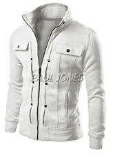 New Men's Slim Fit Stand Collar Coat Tops Military Jacket Winter Outwear Blazer