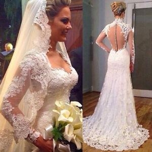 Lace Wedding Dresses Long Sleeve V-Neck Sweep Train Mermaid Bridal Gowns Custom