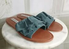 Steve Madden Getdown Blue Suede Ruffle Slide Flat Sandals Size 9 New
