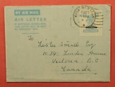 1949 INDIA PAKISTAN OVERPRINT AEROGRAM KARACHI TO CANADA