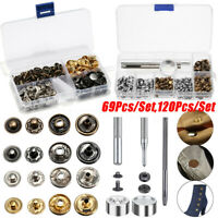 120X Sets Double Cap Rivets Metal Fixing Stud Repair Tools Kit for Leather