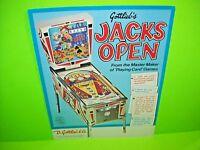 Gottlieb JACKS OPEN 1977 Original Flipper Game Pinball Machine Promo Sales Flyer