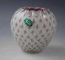 Vtg Murano Glass Fishnet Cased Glass Small Vase Votive Holder -Orig Label