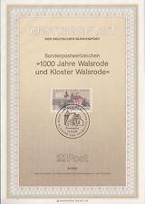 TIMBRE FDC ALLEMAGNE  BONN OBL ERSTTAGSBLATT MONASTERE DE WALSRODE  1986