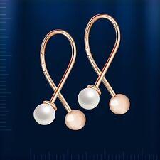 Russische Rose Rotgold 585 Ohrringe mit Perlen und Goldener Ball  Neu  Glänzend.