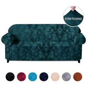 Velvet Embossing Floral Stretch Sofa Cover Living Room Sectional Couch Slipcover