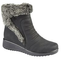 WOMENS LADIES COLLAR WEDGE HEEL WINTER FUR LINED ANKLE BOOTS SIZE UK 3 4 5 6 7 8