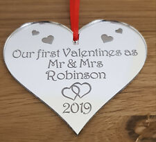 PERSONALISED FIRST VALENTINES MARRIED GIFT KEEPSAKE PLAQUE HEART MIRROR MR & MRS