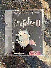 Final Fantasy III 3 SNES **INSTRUCTION BOOKLET MANUAL ONLY** Super Nintendo