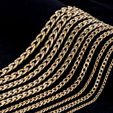 18K GOLD PLATED CURB RINGS LINKS HEAVY CHUNKY MENS WOMENS LONG CHAIN NECKLACE