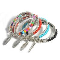 Women Boho Tibetan Silver Plated Feather Bangle Gypsy Turquoise Bracelet Jewelry