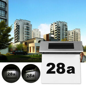 Stainless Steel Solar Powered LED House Door Number Wall Plaque Light Outdoor