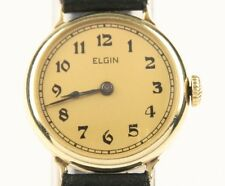 Vintage Ladies Elgin 14k Yellow Gold Hand-Winding Watch w/ Leather Strap