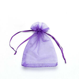 20pcs Purple Drawstring Organza Bags Packaging Wedding Party Gift 7x9cm