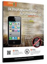 3x Apple iPhone 4 4S Displayschutzfolie Anti Fingerprint Glare Matt Schutzfolie