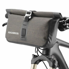 ROCKBROS Bicycle Front Handlebar Bag Waterproof Cycling Tube Bag Black Gold 4-5L