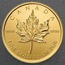Maple Leaf 2019 1 Gramm Maplegram 999 Gold Goldmünze Blister m. Seriennummer