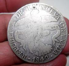 1842 RS (COLOMBIA) 8 REALES (SILVER) REPUBLIC of NUEVA GRANADA --SCARCE---