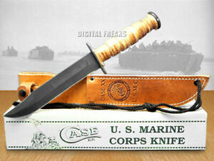 Case xx U.S. Marines USMC Knife Fixed Blade Grooved Leather Carbon Steel 00334