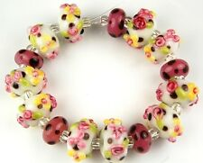 15 PCS Lampwork Glass Beads Southwestern Flower Pink Yellow Loose Rondelle Craft